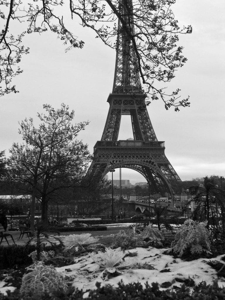 Snow-covered Eiffel Tower Paris