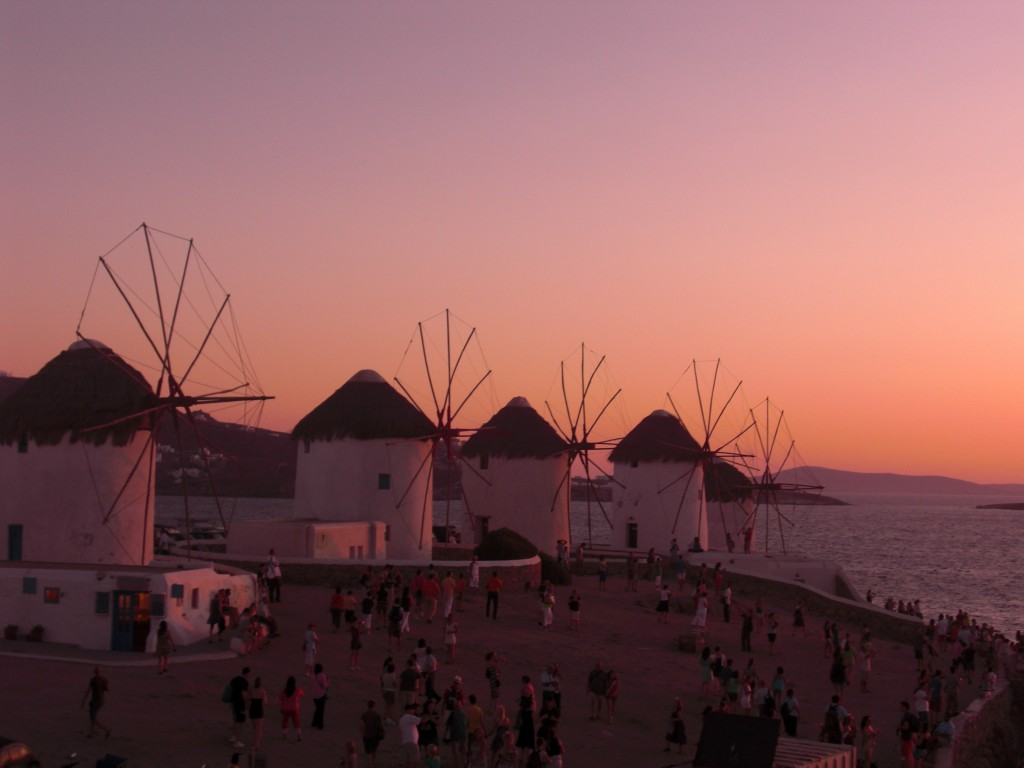 Sunset Windmills Mykonos Greece