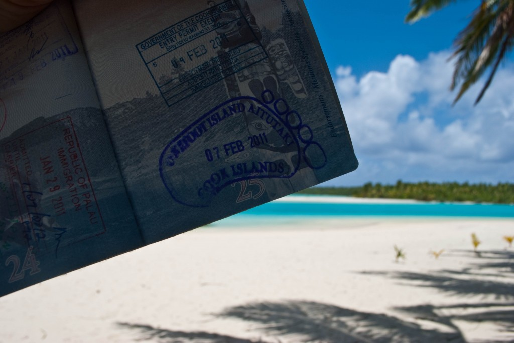 Passport stamp One Foot Island Aitutaki Cook Islands