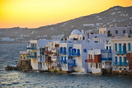 Sunset Little Venice Mykonos Greece