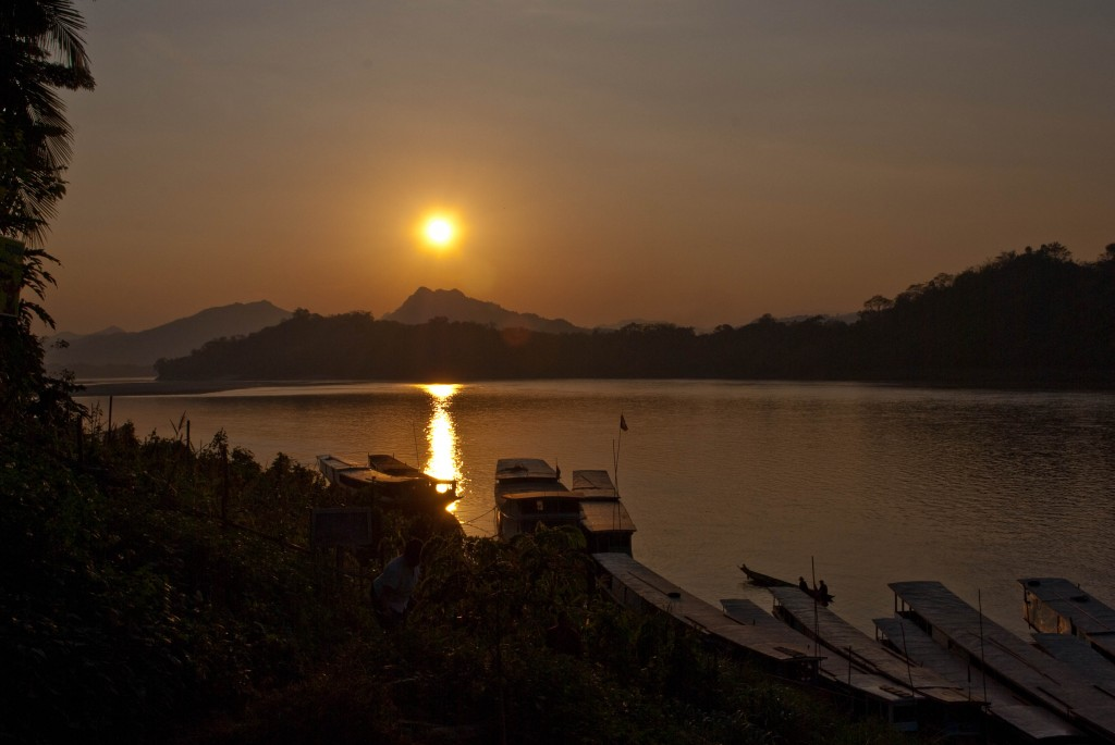 Sunset Mekong River Laos
