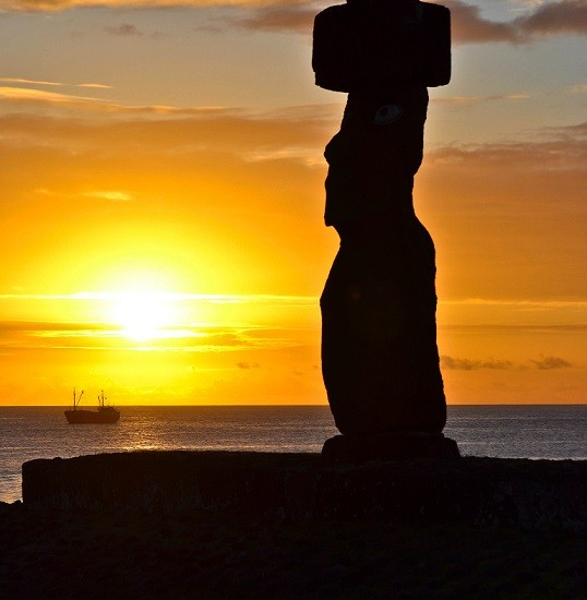 Sunset Ahu Tahai Easter Island Chile