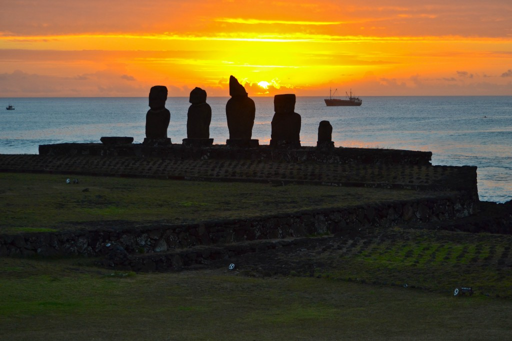 Sunset Ahu Tahai Easter Island