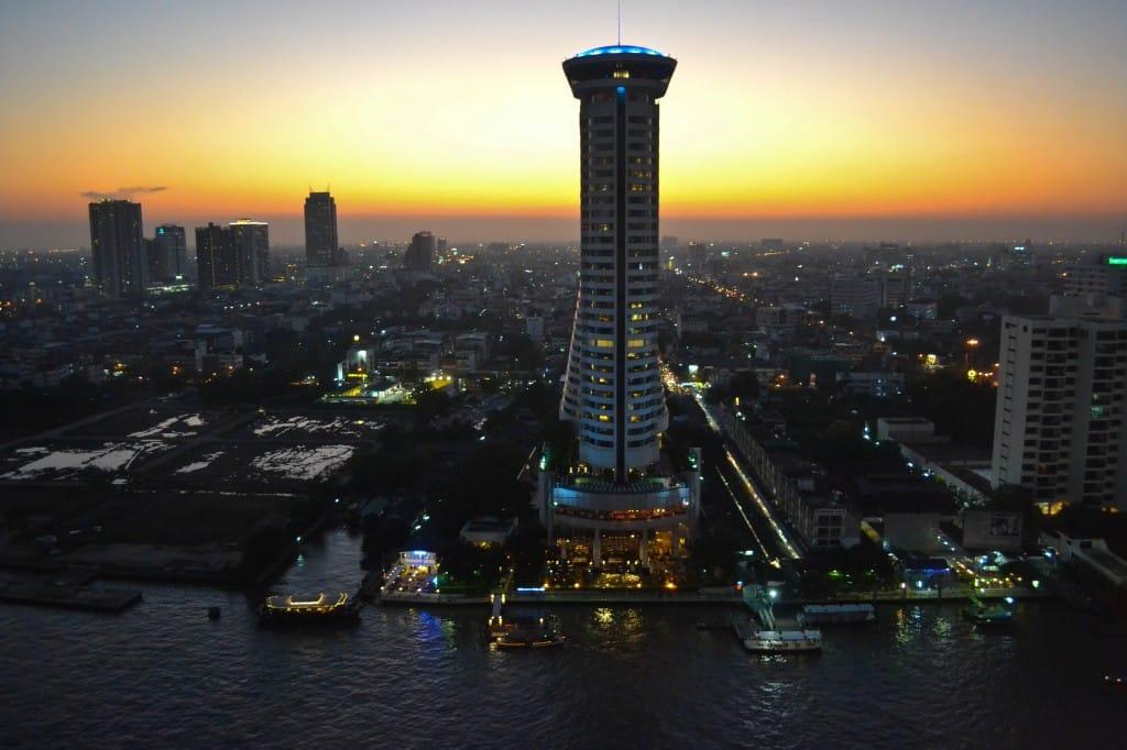 sunset Chao Phraya River Bangkok Thailand