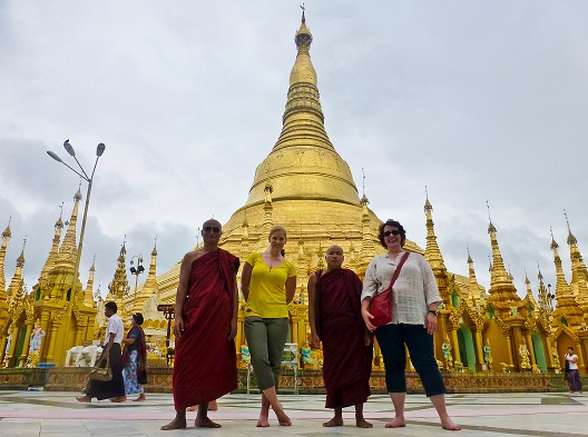 Monks Shwedagon Pagoda Myanmar