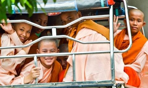 Novice nuns Yangon Myanmar