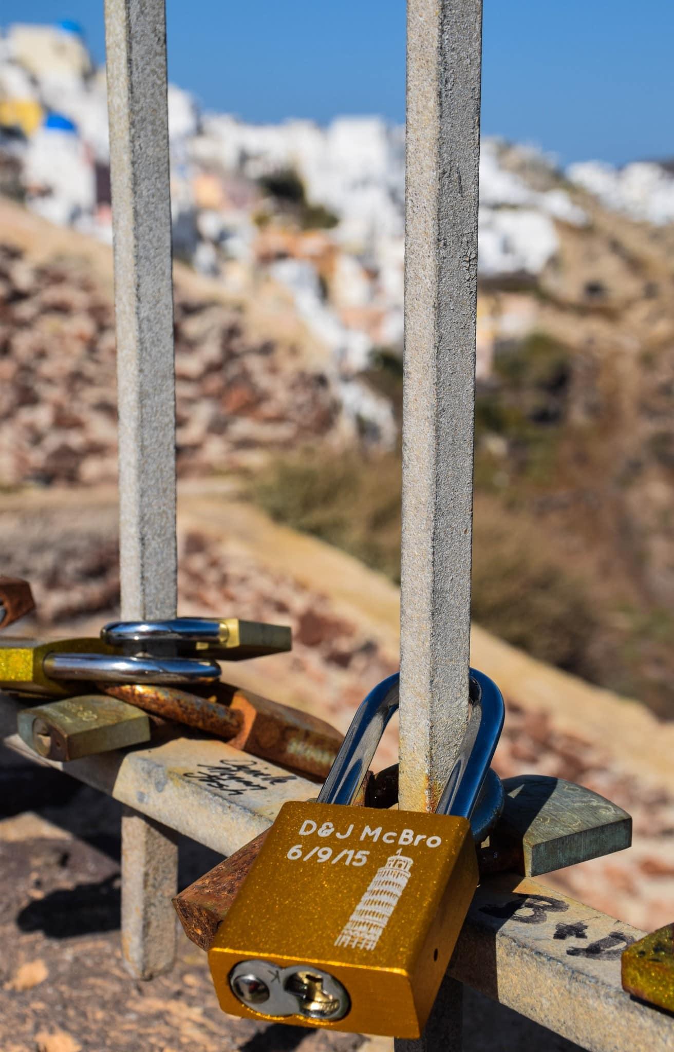 Love Locks Santorini Greece
