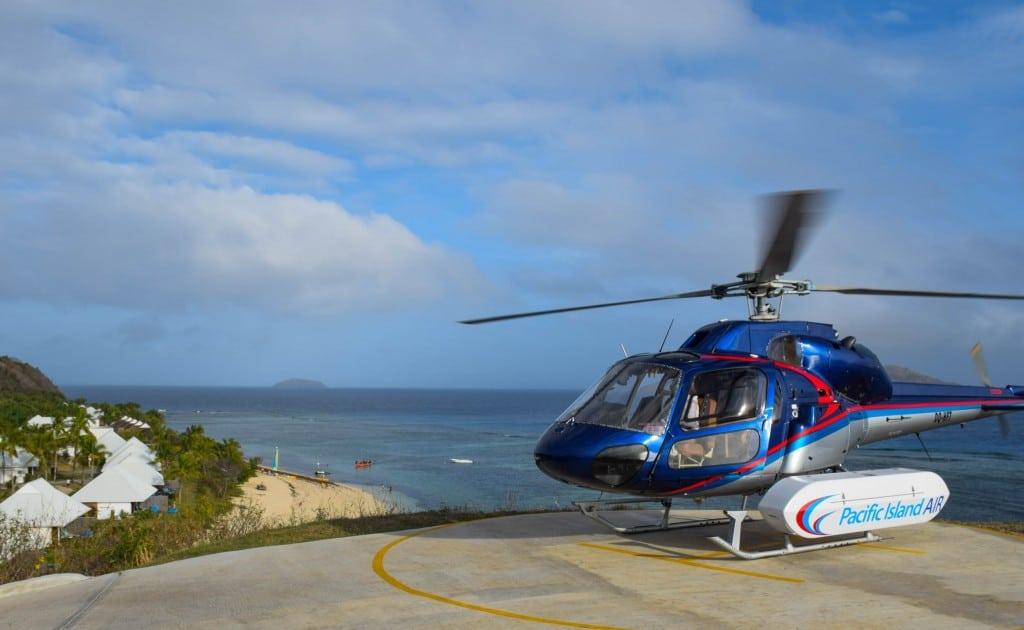 Helicopter Arrival Tokoriki Fiji