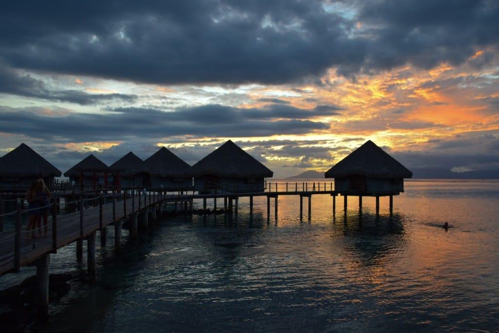 Tahiti Sunset Overwater bungalows